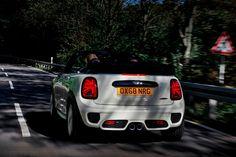 2021 Mini John Cooper Works Convertible Rear View Driving Photo Mini Cooper Models, Audi Tt Roadster, Fiat 124 Spider, Mini Cooper Convertible, John Cooper Works, Squad Goals, Fuel Economy, British Style, Exterior Design