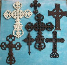 7 PC Decorative Wall Crosses Rustic Christian Western Church Religious Decor--Set #3, FREE CROSS MONEY CLIP WITH PURCHASE--TO SEE MORE OF MY CROSS SETS CLICK ON TEXAS CREATIONS LINK BELOW by Texas Creations, http://www.amazon.com/dp/B003CSX52W/ref=cm_sw_r_pi_dp_wASMrb1Z8C4E8