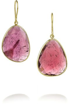 Pippa Small 18 Karat Gold Tourmaline Earrings Pink Ring