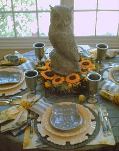 Candlelightsupper Style Your Table: Owls & Sunflowers Tablescape