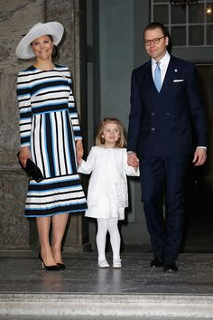 (L-R) Crown Princess Victoria of Sweden, Princess Estelle and Prince Daniel of Sweden arrive at the Royal Palace to attend Te Deum Thanksgiving Service to celebrate the 70th birthday of King Carl Gustaf of Sweden on April 30, 2016 in Stockholm, Sweden.