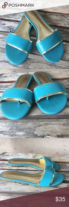 Talbots summer slip on sandals size 7.5 Talbots summer gold and teal slip on thing sandals size 7.5.  Perfect for summer fun! Gently loved.  Run a little narrow.  No box. No offers please Talbots Shoes Sandals