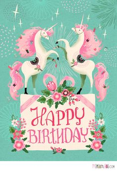 Design is available as a birthday card at a speciality grocer in the USA. Design by Miriam Bos. #unicorn #illustration #miriambos