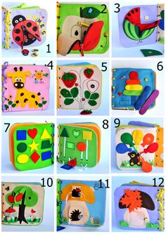 It's a great gift for your child! This book has interesting content and encourage the development of hands. The toy develops fine motor skills, attention, logical thinking. The ideas of pages also allow learning main colors, main geometrical shapes and count. A child can see himself in the mirror. Active book made of felt is recommended for children from 1 year old. Since it is a handmade item, book design may differ slightly depending on the availability of working material. Size: 20x20 cm…
