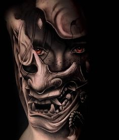 Tattoos And Body Art japanese tattoo art Samurai Maske Tattoo, Hannya Maske Tattoo, Samurai Tattoo Sleeve, Oni Mask Tattoo, Samurai Warrior Tattoo, Warrior Tattoos, Warrior Tattoo Sleeve, Irezumi Sleeve, Demon Tattoo