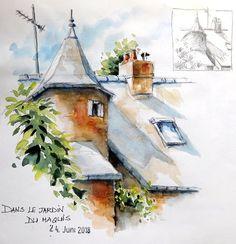 BB-Aquarelle: Jolie petite tour / Nice little tower Croquis Architecture, Watercolor Architecture, Watercolor Landscape, Watercolor Paintings, Landscape Drawings, Landscape Paintings, Watercolor Sketchbook, Cool Sketches, Sketchbook Inspiration