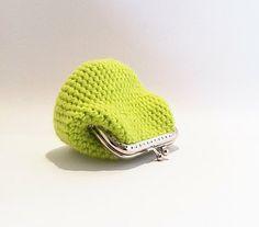 Coin Purse Lime Green  Black Owl Fabric Lining by KnitADeeDooDah, £12.00