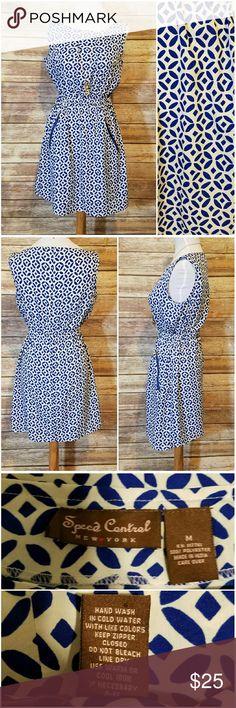 Blue and White Pocket Dress Speed Control EUC blue and white dress with zipper pockets and elastic waist Speed Control Dresses