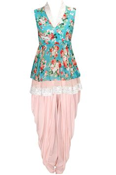 Sea green floral print embroidered short kurta with peach dhoti pants available only at Pernia's Pop Up Shop.