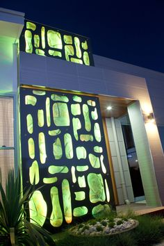 Interesting lighting features bring personality to the facade of any  home, and can also guide you home