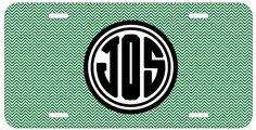 Personalized Monogrammed Chevron Black Emerald License Plate Custom Car Tag L358