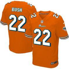 0f80cd862 Mens Nike Miami Dolphins  22 Reggie Bush Elite Alternate Orange Jersey