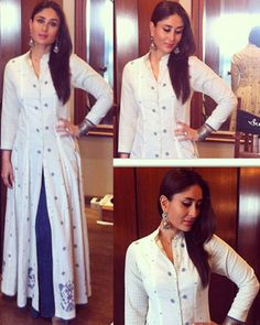 Going traditional: Bebo looked beautiful in a Rahul Mishra ensemble that included a long white kurta and blue palazzos for her Ahmedabad and Jaipur promotions of Singham Returns. Indian Attire, Indian Wear, Pakistani Outfits, Indian Outfits, Desi Wear, Desi Clothes, Kurta Designs, Mode Hijab, Indian Designer Wear