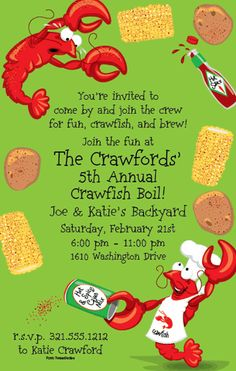 Spice things up with this Paper so Pretty crawfish boil invitation!