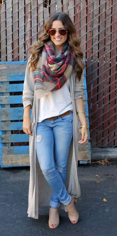 Light Jeans with White T and Long Beige Cardigan with Colorful Scarf- love her hair & sunglasses