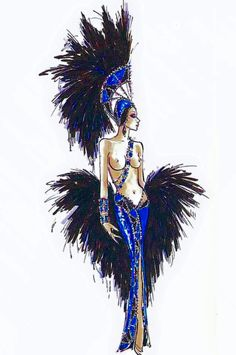 Couture Style From Paris To Hollywood and Beyond. Showgirl Costume, Vegas Showgirl, Dress Sketches, Fashion Sketches, Fashion Illustrations, Moulin Rouge Costumes, Las Vegas, Old Hollywood Movies, Bob Mackie