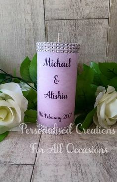 Personalised Wedding Candle by PCFAO on Etsy