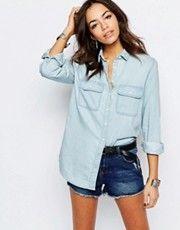 Выбеленная джинсовая рубашка бойфренда New Look