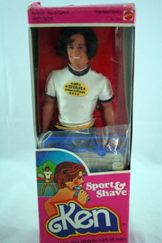 """""""Sport & Shave"""" Ken, 1980.  His box says """"Shave him.  He's athletic. He's all man"""". I think I might gag."""