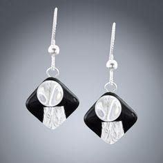 Woven Deco Earrings Simple Jewelry, Metal Jewelry, Sterling Silver Jewelry, Silver Earrings, Drop Earrings, Artisan Jewelry, Handmade Jewelry, Black Enamel, Purple Amethyst