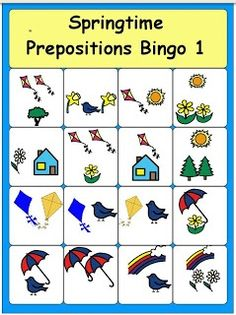 Springtime Preposition Bingo--free printable - Pinned by @PediaStaff – Please Visit  ht.ly/63sNt for all our pediatric therapy pins