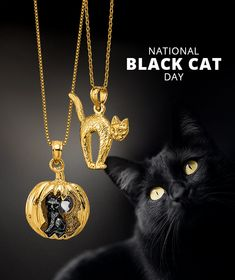 Today is National Black Cat Day! Don't be superstitious but celebrate the beauty of these sleek felines. #QualityGold #Halloween #charms #BlackCatDay #CatLover