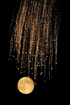 #night #nuit #moon #lune #gold #doré #paillette.