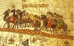 Illustrated map depicting the journey of the Venetian merchant Marco Polo (1254-1324) along the Silk Road to China. Some doubts have recently been cast on whether Marco ever actually made it all the way to China. His account may have been based on conversations with the merchants on the Silk Road.