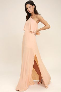 Lulus Exclusive! The gentle beauty of the Angelic Way Blush One-Shoulder Maxi Dress has us mesmerized! Lightweight poly shapes an elasticized, one-shoulder flounce bodice. A full maxi skirt descends below a fitted waist. Hidden side zipper/clasp.