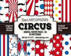 18 Circus Patterns Digital Paper Pack Hi res 300 dpi jpg Files, great for your home printer and professional DTP and printing. Vintage Circus, Scrapbook Supplies, Paper Background, Polka Dots, Clip Art, Digital Papers, Patterns, Wallpaper, Etsy