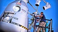 Felix Baumgartner climbing into the Red Bull Stratus capsule Felix Baumgartner, Speed Of Sound, Red Bull, In This World, Climbing, Technology, Balloons, Sports, Tech