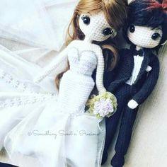 Amigurumi bride and groom wedding dolls. (Inspiration).❤