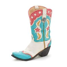 """Classy Cowgirl Boot Shaped Hand Painted Resin Vase. Classy cowgirl boot shaped hand painted resin vase. 9""""H X 3 1/2""""W X 7 1/2""""D. Opening 2"""" X 3""""."""
