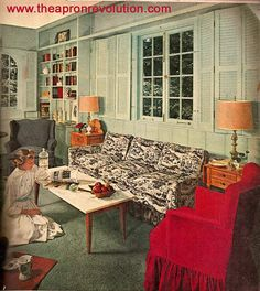 cottagey 1952 Colonial Living Room by American Vintage Home, via . 1950s Interior, Mid-century Interior, Vintage Interior Design, Vintage Interiors, Colorful Interiors, Interior Colors, Interior Decorating, 1950s Living Room, Mid Century Living Room