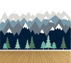Mountain Wall Decals Pine Trees Nature Wall Decals Snow Cap Blue Mountains - Home Tree Mural Kids, Kids Room Murals, Kids Room Paint, Wall Murals, Wall Art, Kids Rooms, Mountain Mural, Mountain Nursery, Kids Wall Decals