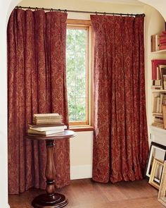 Red Paisley Curtains With Iron Curtain Rod U0026 Rings   Pottery Barn, ...