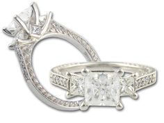 "Scott Kay ""Crown Setting"" Princess Side Diamonds and Flame Engraving with Special 1.00ct Center Diamond Engagement Ring"
