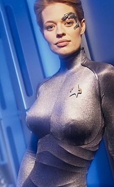 "Jeri Ryan in Star Trek as ""Seven of Nine""."