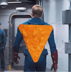 """""""Dorito"""" refers to the perfectly Dorito-shaped form of Chris Evan's torso.  (In case you wondered.)  Sometimes I think Robert Downey Jr. has a Tumblr - that's how he finds out all this stuff.  (Or Mark Ruffalo tells him...) Captain America Winter, Chris Evans Captain America, Capt America, Best Superhero Movies, Avengers 2012, Mark Ruffalo, Loki Marvel, Downey Junior, Marvel Memes"""