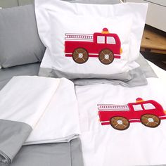 Picture of 65 Grey & White Fire Truck Crib Bedding