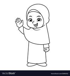 Moslem girl hajj bw vector image on VectorStock Ramadan Activities, Ramadan Crafts, Ramadan Decorations, Kids Crafts, Islamic Art Pattern, Pattern Art, Diy Eid Cards, Coloring Books, Coloring Pages