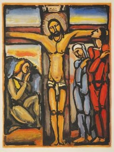 In one of Rouault's crucifixion scenes, painted around 1920, the dark is one again a fundamental feature. The Crucifixion could almost be taking place at night. The sky is dark, the land is dark an...