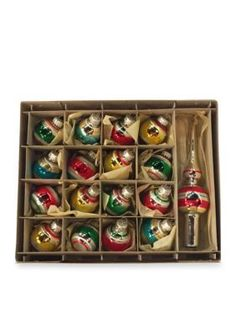 Kurt S. Adler  Early Years Set of Sixteen Miniature Ornaments and Treetop