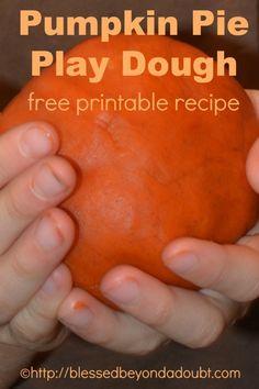 Awesome smellin' Pumpkin Pie Play Dough Recipe Printable