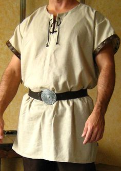 Medieval Celtic Viking Short Sleeves Shirt wt Leather Trims.