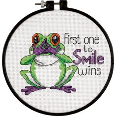 "Learn-A-Craft First One To Smile Counted Cross Stitch Kit-6"""" Round 14 Count"