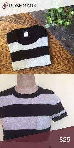 J. Crew sweater Beautiful J. Crew short sleeve sweater in black and grey. So soft and comfy. Small pocket on the chest. Wool/cashmere mix. New without tags.  Size xxs. Fits up to a small J. Crew Sweaters