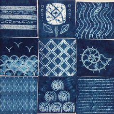 Samples of different stitch resist shibori patterns   ©Tela shibori, via flickr