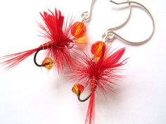 Fire Red Fishing Lure Earrings Sterling Silver Orange Yellow Red