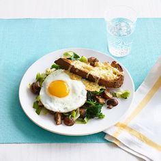 Leeks and Mushrooms on Cheesy Toasts with Fried Eggs #myplate #dairy #vegetables #protein #grains